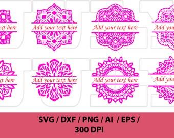 80% Off, Mandala Split Monogram svg, Circle Monogram Frame svg, Flower Frame svg, Flower Mandala svg, dxf, eps, png, Mandala vector
