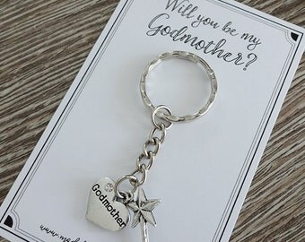 Will you be my Godmother charm keyring