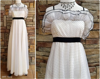 Long white and black polka dotted formal dress with ruffles and empire waist - Extra small