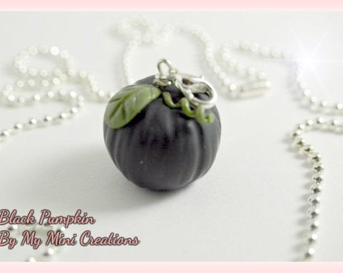 Black Pumpkin Necklace, Miniature Food, Miniature Food Jewelry, Food Jewelry
