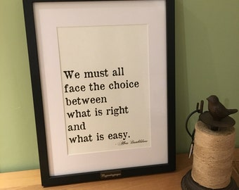 Dumbledore quote - home decor - wall art - framed print - Harry Potter art - framed quote