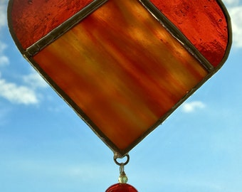 I Heart You - Deep Orange Sun Catcher