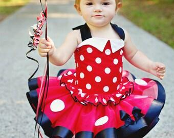 Retro Minnie Mouse Inspired Tutu, Sewn Tutu, Ribbon Tutu, Birthday Tutu, Pageant Skirt, Infant Tutu, Toddler Tutu, Photo Prop