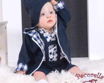 Boys jacket reversible navy / vichy with hood