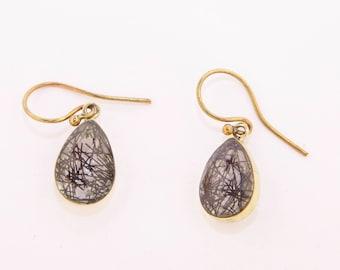 Black Tourmaline Quartz Earrings, Brass Black Tourmaline Quartz Earrings, Tourmilated Quartz, Brass Earrings,