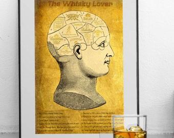 The Whisky Lover - Art Print - Gift Idea for Whisky/Bourbon Connoisseur: (Jack Daniel's, Johnnie Walker, Chivas Regal etc) Husband/Father