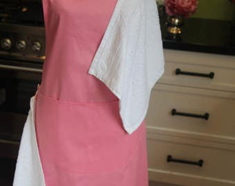 Baby shower gift! Handmade, one-of-a-kind, full-length, pink cotton maternity apron, 2 white face washers, 1 pocket, and 4 handy buttons.