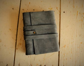 Small blank leather bound journal, portfolio, sketchbook, notebook, bible study journal strap closure