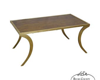 Wildwood Accents Gilt Metal Base Mahogany Hollywood Regency Style Coffee  Table