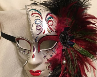 Masquerade Mask,Venetian feather mask, carnival mask, Mardi Gras mask, Costume Mask, Blue Feather Mask, Medieval Mask, beaded mask