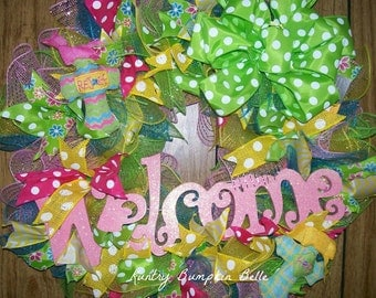 Think Pink Spring Wreath, welcome wreath, spring welcome wreath, pastel wreath, pink Summer wreath, patio decor, porch decor, mesh wreath.