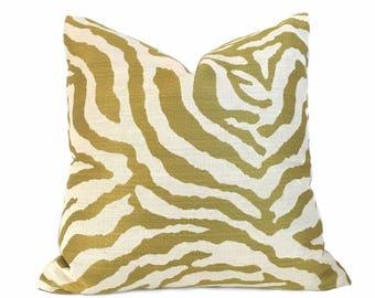 Kravet Citron Cream Tiger Animal Stripe Pillow Cover,  Fits 22x22 Cushion Inserts