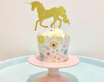 12ct Glitter Unicorn cupcake topper, unicorn topper, unicorn birthday party topper
