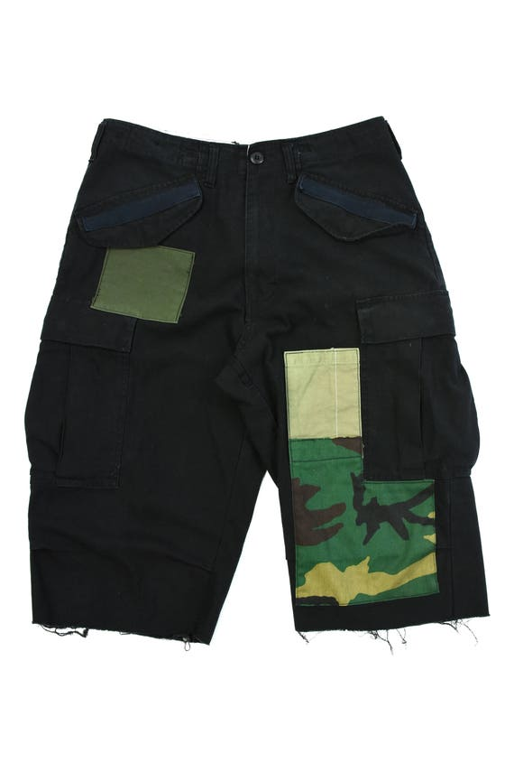 raw edge cut washed ash black pacth work m-65 cargo shorts