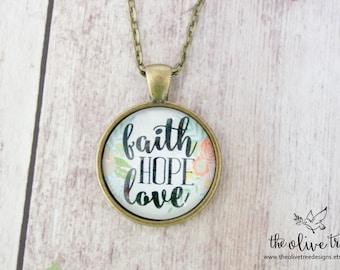 50% OFF!! Bible Verse Pendant Necklace, Jewelry, Handmade Necklace, Photo Necklace - Faith, Hope, Love - Vintage Bronze
