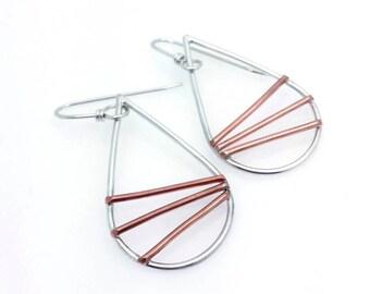 silver earrings, teardrop earrings, minimal earrings, minimalist, mixed metal jewelry, boho earrings, simple earrings, geometric earrings