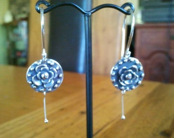 Flower drop sterling silver earrings, dangle drops, handmade jewellery Australia