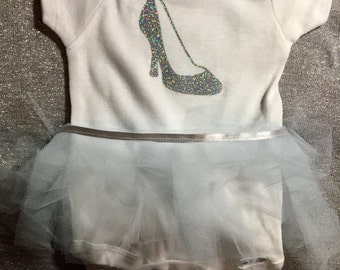 Cinderella inspired baby onesie with tie on tutu