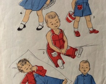 Advance 6897 toddlers overalls, sunsuit, jumper and jacket size 1 vintage 1950's sewing pattern