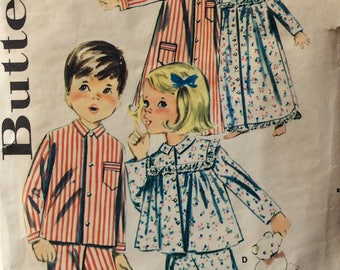 Butterick 9987 childs pajamas, nightshirt, nightgown, cap & bonnet size 1 vintage 1960's sewing pattern