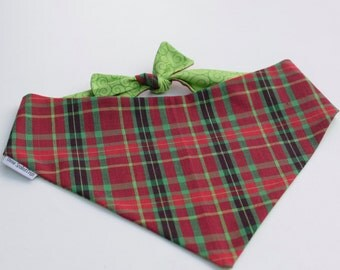 Personalized Holiday Christmas Plaid Dog Bandana Reversible Pet Scarf - Dog Lover Gift by Three Spoiled Dogs