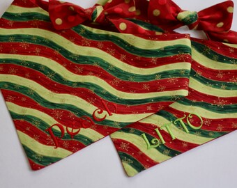 Personalized Holiday Wavy Stripe Dog Bandana    Polka Dots Gold Accents Reversible Christmas Pet Scarf    Custom Gift by Three Spoiled Dogs