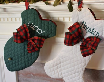 Dog Bone Christmas Stockings || Personalized Pet, Fish or Traditional with a Jingle Bell Christmas Stocking || Gift by Three Spoiled Dogs
