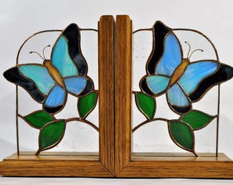 Stained Glass butterfly bookends/butterfly bookends handmade/Celtic Butterflies/ Stained Glass Sun Catcher