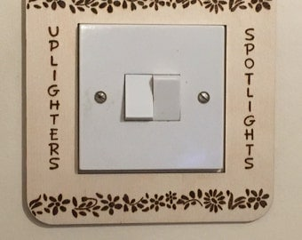 Personalised light switch surround. Wood burned pyrography. Any design. No more boring light surrounds!