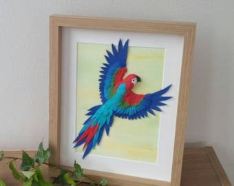 Scarlet Macaw, Parrot Wall Art, Scarlet Macaw art, Macaw Sculpture, Parrot Sculpture, rainforest artwork, jungle decor, polymer clay parrot