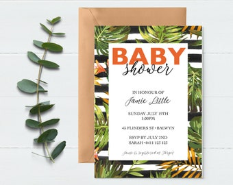 Baby Shower Invite - Tropical Invitation - Shower Invitation - Floral Invitation - Printable Invitation - Baby Sprinkle Invite - Party