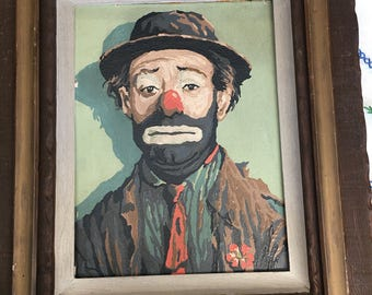 Vintage paint by number Emmett Kelly clown in frame signed from 1963 circus clowns