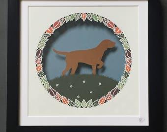 Custom Dog Wreath Framed Papercut