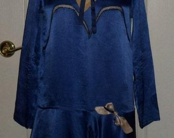 Vintage 1920's Royal Blue Silk Drop Waist Flapper Dress 38