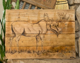 Moose Painting Rustic home decor New for home Gift for him Woodland wall art Log cabin art Rustic wall art Rustic wall hanging Wood wall art