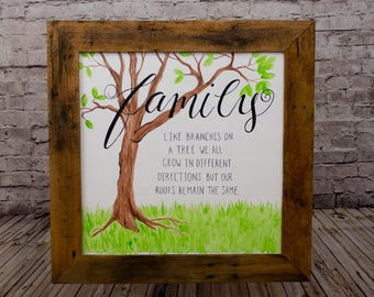 Family sign Family tree Family name sign Family established sign Wall decor living Room Mantle decor Rustic wall hanging Family wall art