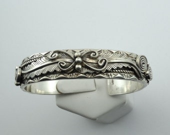 Original Thomas Francisco Navajo Native American Siversmith Solid Sterling Silver Floral Pattern Cuff Bracelet  #THOMAS-CF5