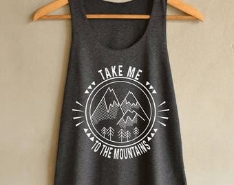 Take Me To The Mountains Shirt Tank Top in Vintage Summer Tank Top Dark Gray Shirts Women Size S M L