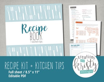 Printable and Editable Recipe Binder Kit, Instant Digital Download