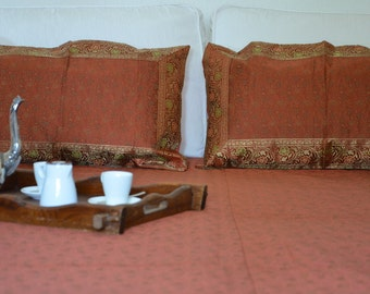 Uttarakhand, brocaded bed linen and two cushion covers