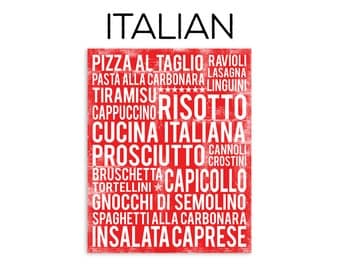Italian Food Subway Art Print - Italian Food Poster - Various Sizes & Colors