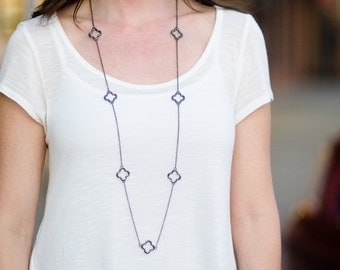 Gunmetal Layering Necklace, Long Chain Necklace