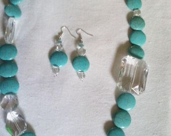"24"" L Turquoise and Glass Bead Necklaces with Earrings"