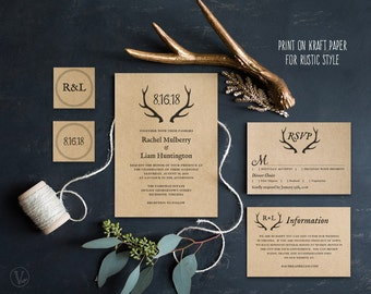 Wedding Invitation Template, DIY Printable Wedding Invitation, Rustic Wedding Invitation Suite, Kraft Wedding Invitation, Rustic Antler