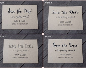 Kraft Save The Date Cards - 4 Different Styles Available - Weddings/Engagement
