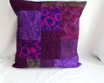 patchwork cushion cover, scatter cushion, throw accent pillow, quilted pillow slip, purple, 16 x 16""