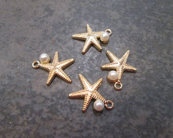 Gold Starfish charms with Pearl detail Package of 4 charms Beautiful Quality Perfect for Adjustable bangles