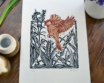 Great tit in flight - linocut print, black/red/gold, hand pulled, limited edition, British birds and gardens
