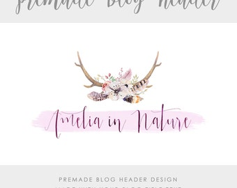 Premade Blog & Website Header - Design #4 - Made with text and colors of your choice