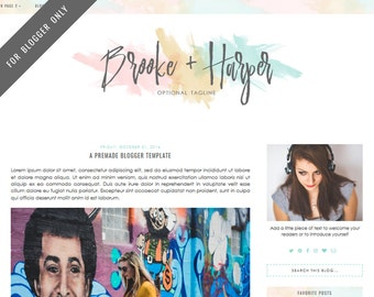 Blogger Template - Mobile Responsive & Dropdown Menu - INSTANT DOWNLOAD - Brooke Harper Theme
